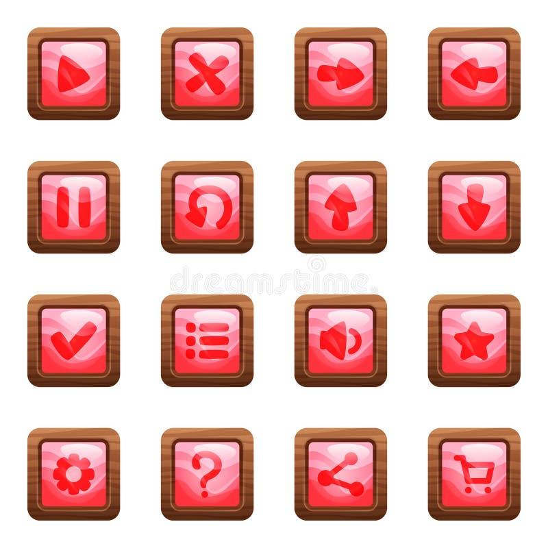 Botones cuadrados rosados en sistema del vector de la historieta del marco de madera libre illustration