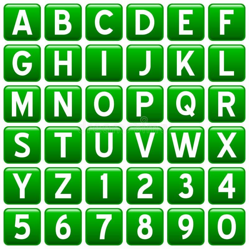 Botones cuadrados verdes del alfabeto ilustración del vector