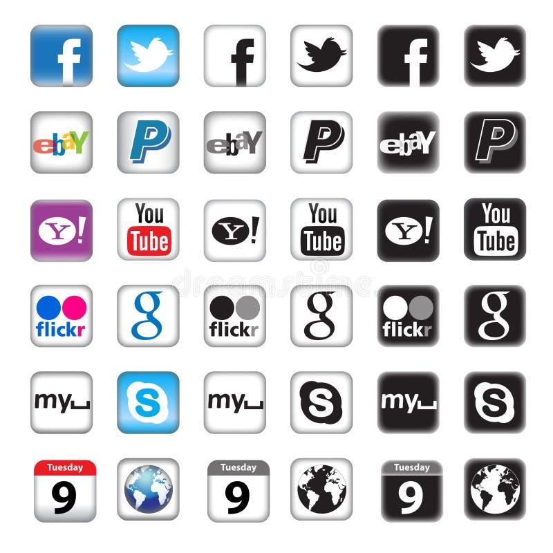 Botones de Apps para el establecimiento de una red social stock de ilustración