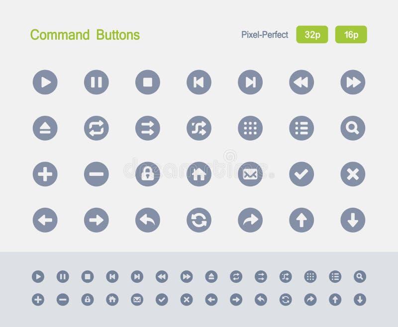 Botones de comando - iconos del granito stock de ilustración