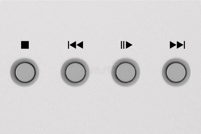 Botones de control del metal del CD o del DVD en el panel de aluminio representación 3d libre illustration