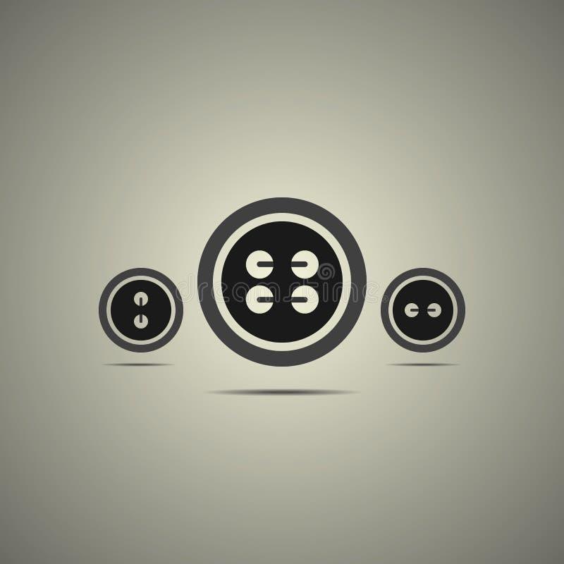 Botones de costura en estilo blanco y negro stock de ilustración