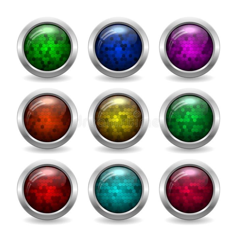 Botones de cristal brillantes coloreados con brillo en el marco metálico para el sitio web o el App imagenes de archivo
