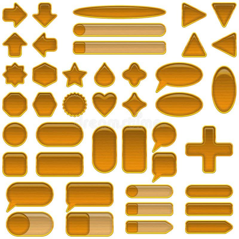 Botones de cristal de madera fijados stock de ilustración