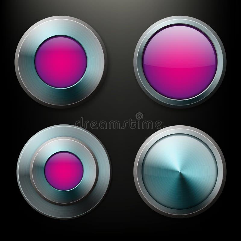 Botones de cristal del color fijados con las fronteras del metal stock de ilustración