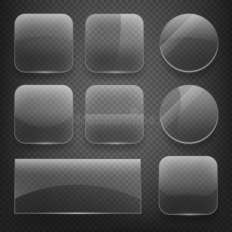 Botones de cristal del cuadrado, rectangulares y redondos en fondo a cuadros Iconos del vector fijados libre illustration