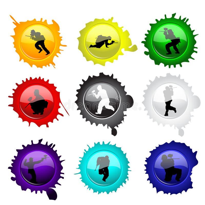 Botones de cristal del Paintball para su diseño stock de ilustración