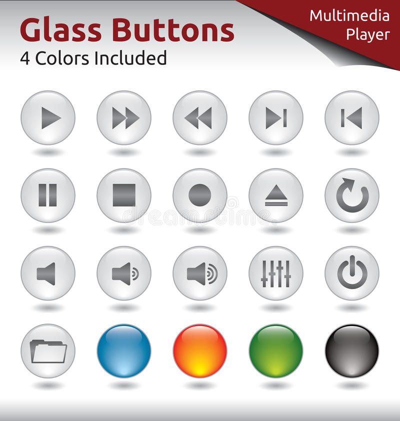 Botones de cristal - reproductor multimedia stock de ilustración