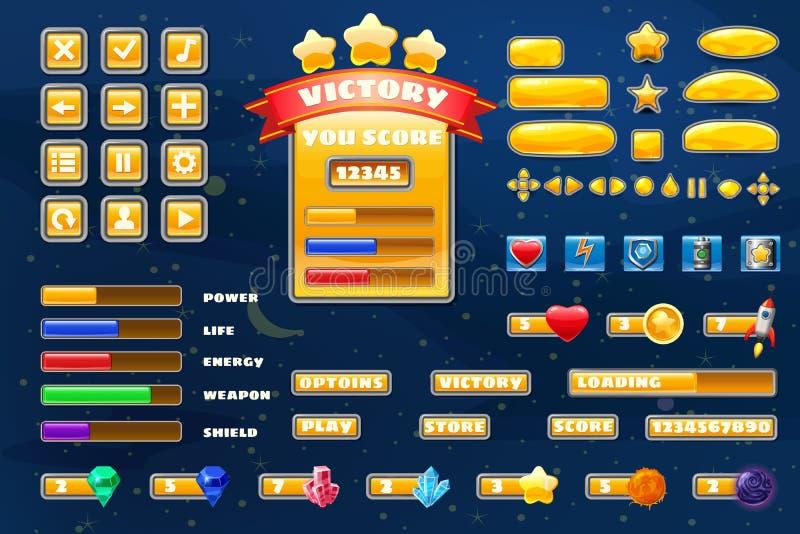Botones de gran tamaño iconos elementos para juegos casuales de Space game juegos y aplicación. Icono del kit de interfaz de usu stock de ilustración