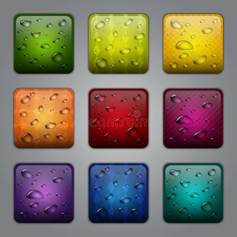 Botones de la aplicación con gotas del agua libre illustration