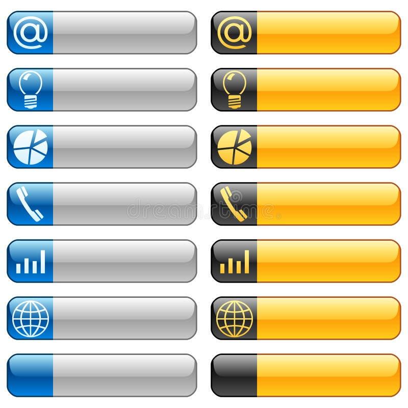 Botones de la bandera con los iconos 6 del Web ilustración del vector