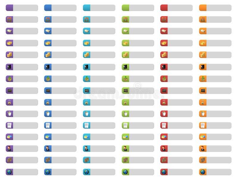 Botones de la bandera con los iconos del Web ilustración del vector