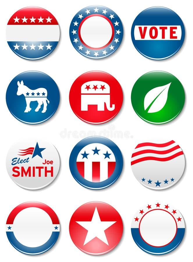 Botones de la campaña electoral de  stock de ilustración