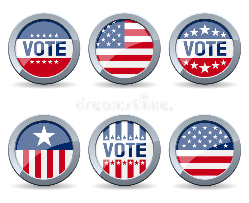 Botones de la campaña electoral de de los E.E.U.U.