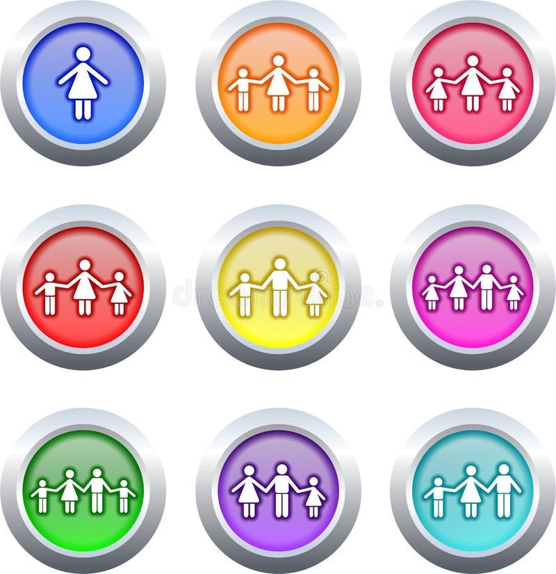 Botones de la familia ilustración del vector