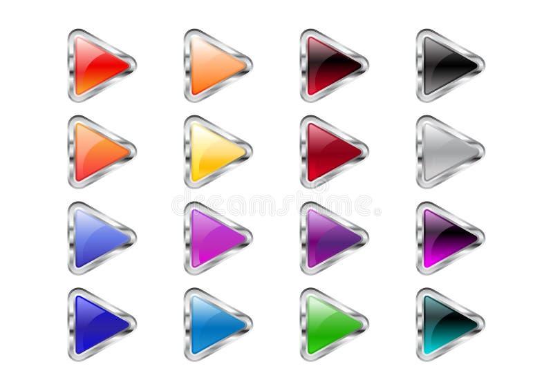 Botones de la flecha del triángulo stock de ilustración