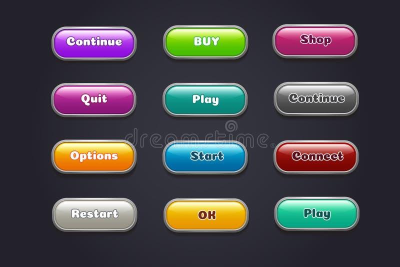 Botones de la historieta Elementos coloridos del ui del videojuego Recomience y continúe, comienzo y sistema del botón de reprodu stock de ilustración