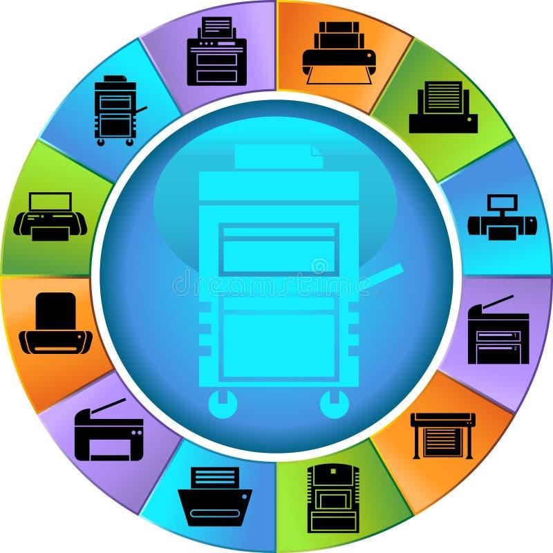 Botones de la impresora - rueda stock de ilustración