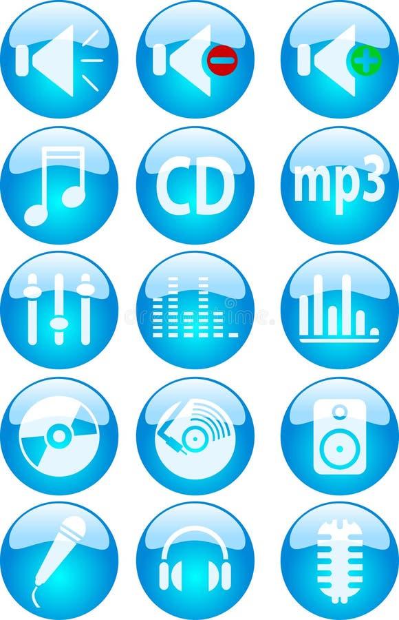 Botones de la música. stock de ilustración