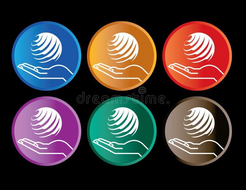 Botones de la mano y del globo stock de ilustración