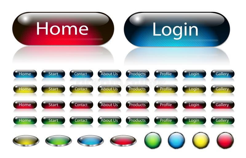 Botones de la navegación del Web fijados ilustración del vector