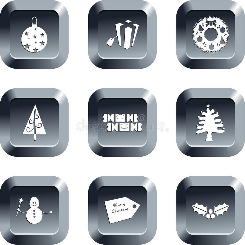 Botones de la Navidad ilustración del vector