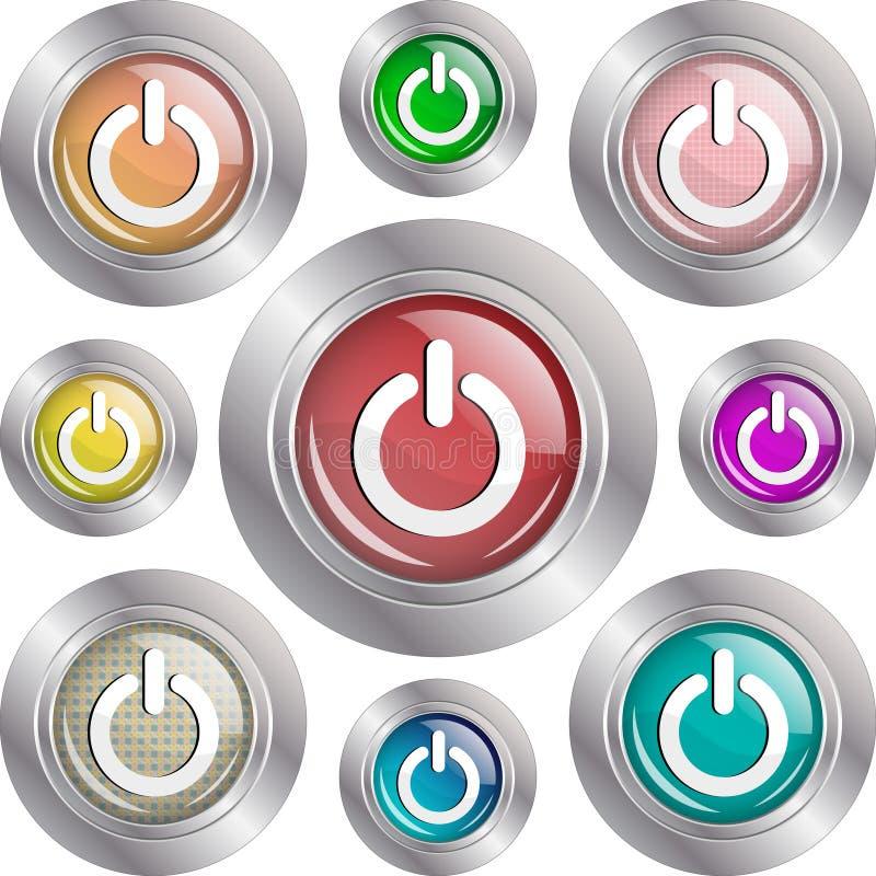 Botones de la potencia stock de ilustración