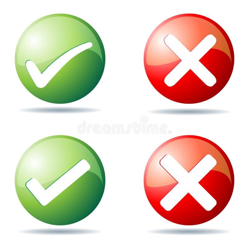 Botones de la señal y de la cruz libre illustration