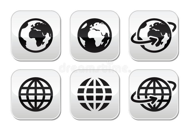 Botones de la tierra del globo fijados ilustración del vector