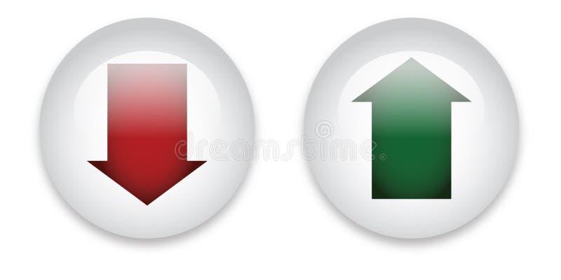 Botones de la transferencia directa y de la carga por teletratamiento stock de ilustración