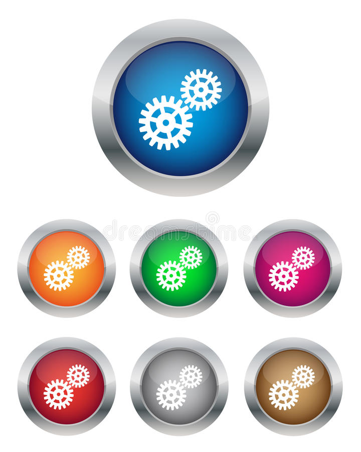 Botones de las configuraciones stock de ilustración