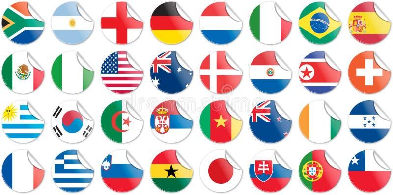 Botones de las etiquetas engomadas de indicadores nacionales de países libre illustration