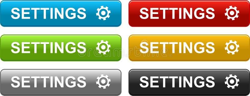 Botones de los ajustes coloridos en blanco libre illustration