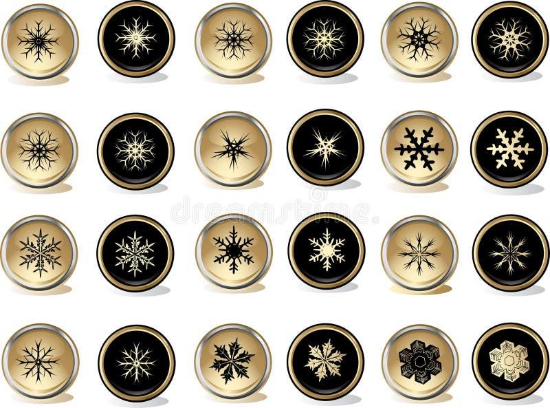 Botones de los copos de nieve stock de ilustración