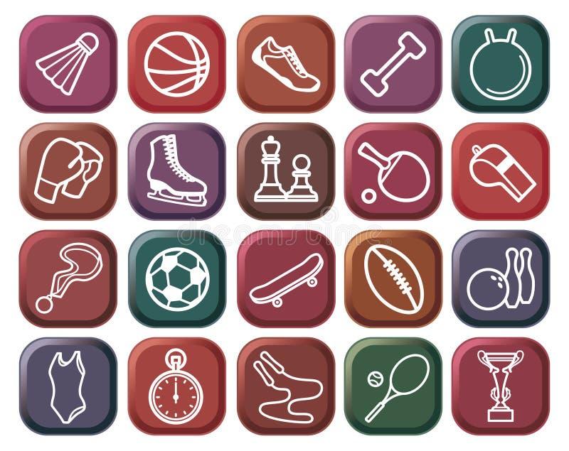 Botones de los deportes ilustración del vector