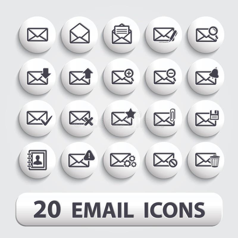 Botones de los iconos del correo electrónico fijados stock de ilustración