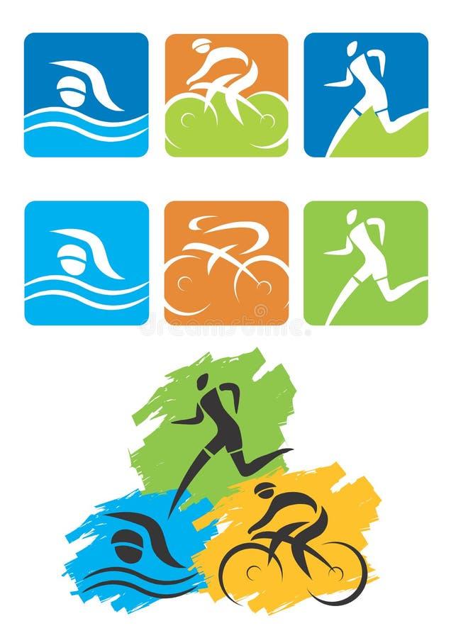 Botones de los iconos del Triathlon stock de ilustración