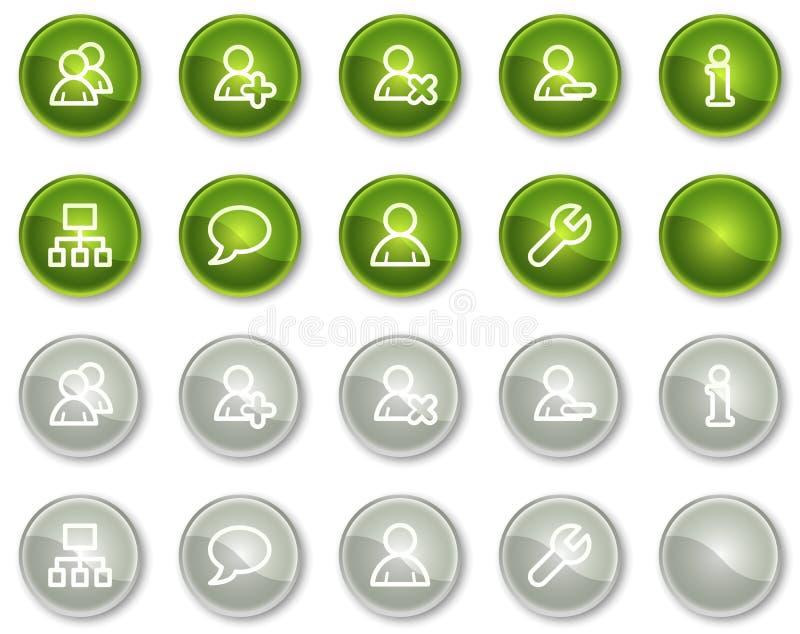 Botones de los iconos del Web de los utilizadores, verdes y grises del círculo libre illustration