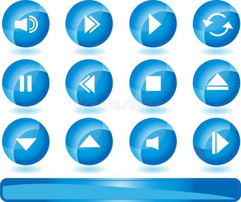 Botones de los multimedia - azul ilustración del vector