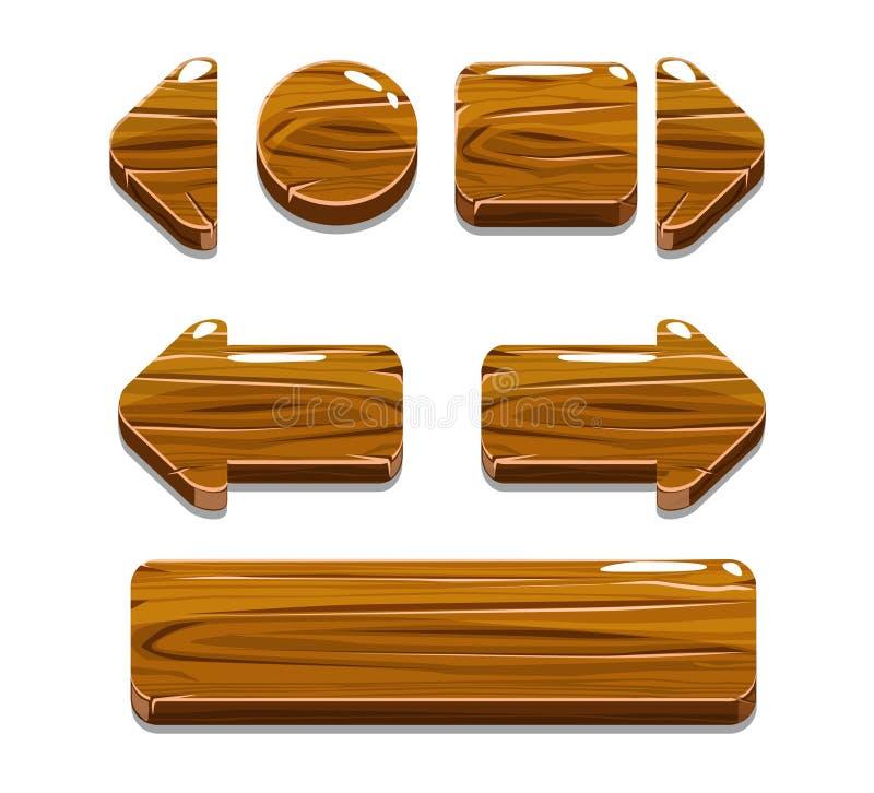 Botones de madera de la historieta para el juego o el diseño web stock de ilustración