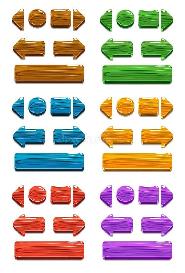 Botones de madera de la historieta para el juego o el diseño web ilustración del vector