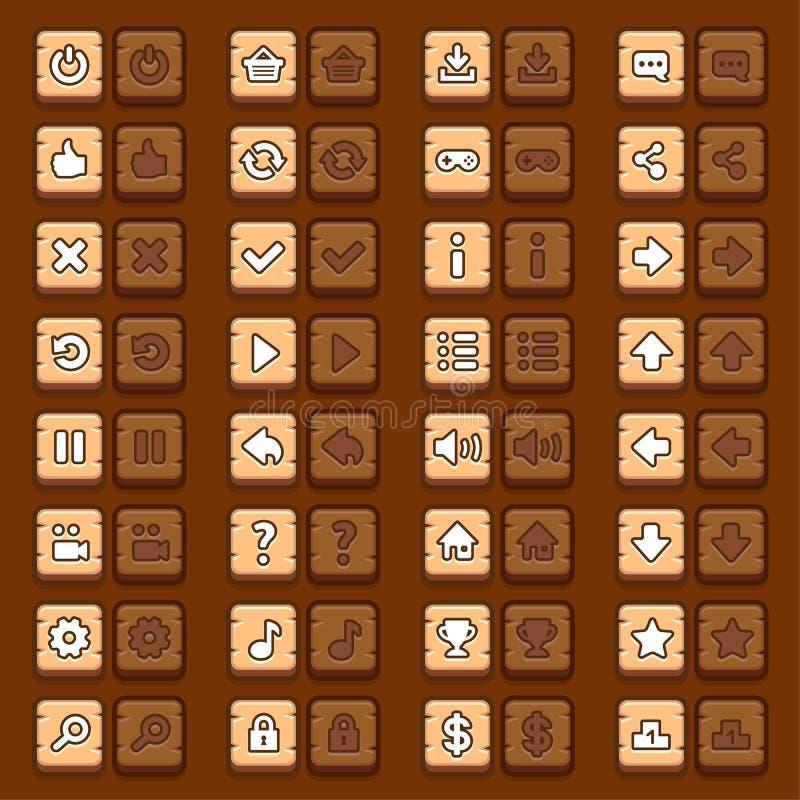 Botones de madera de los iconos del menú del juego fijados libre illustration