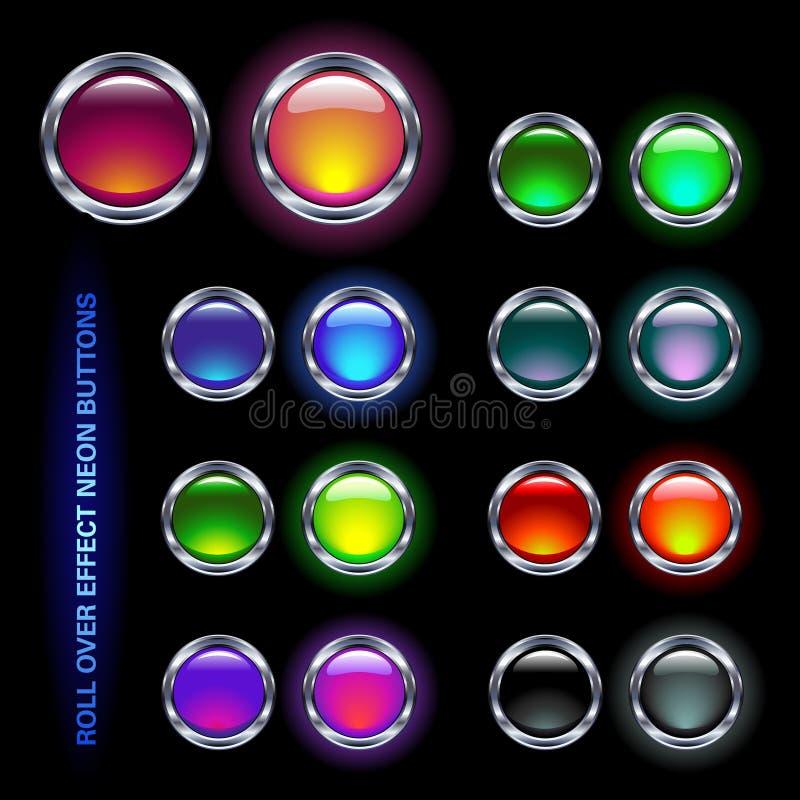 Botones de neón ilustración del vector