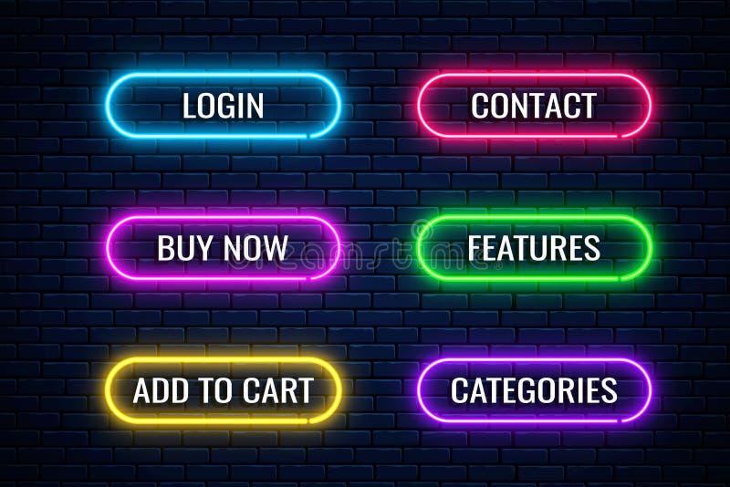 Botones de neón brillante para el diseño de la tienda de Internet Botón Set of website shop Elementos de diseño brillante vectori libre illustration