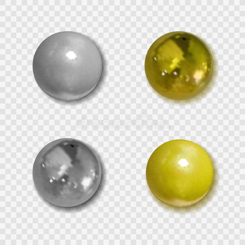 Botones de oro del vector y de plata realistas con las sombras en fondo transparente, bolas metálicas stock de ilustración