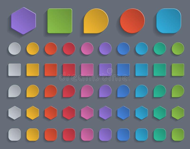 Botones de papel coloridos ilustración del vector