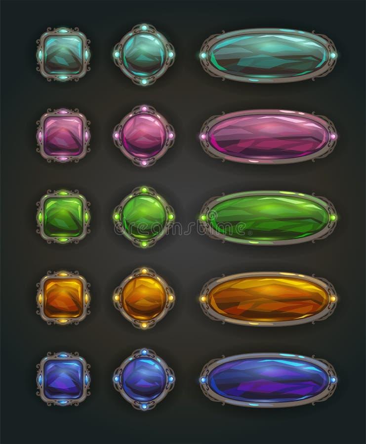 Botones de piedra brillantes mágicos del vector hermoso stock de ilustración
