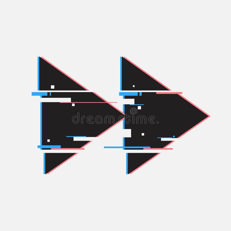 Botones de rebobinado en estilo de la interferencia Diseño mínimo abstracto de la plantilla para calificar Carteles modernos de l stock de ilustración