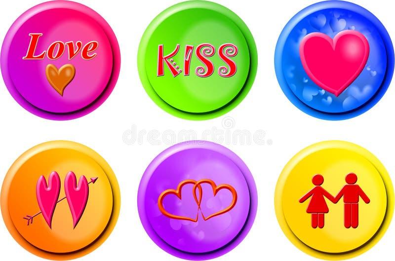 Botones del amor stock de ilustración