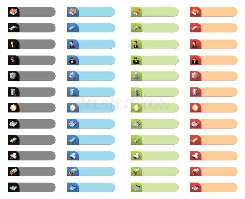 Botones del asunto con los iconos del Web stock de ilustración